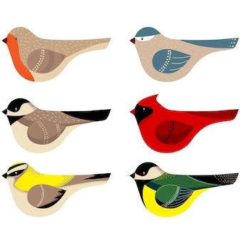 Colección de coloridas aves decoradas.