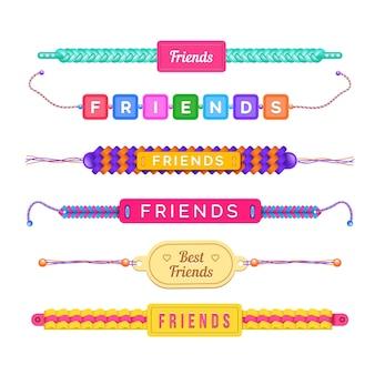 Colección de coloridas bandas de amistad.