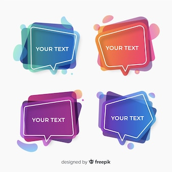 Colección de coloridas burbujas de discurso degradado