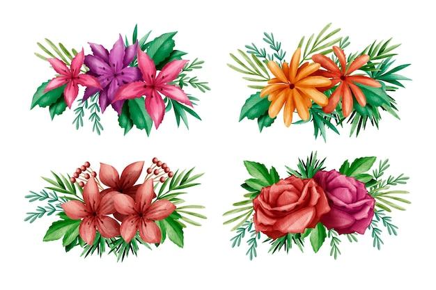 Colección de coloridas flores y hojas de primavera