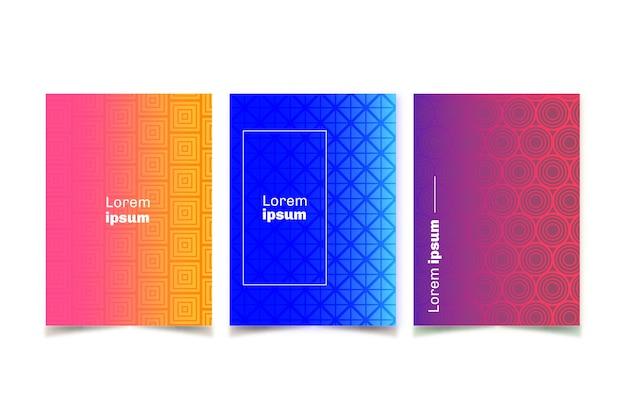 Colección de coloridas fundas de medios tonos