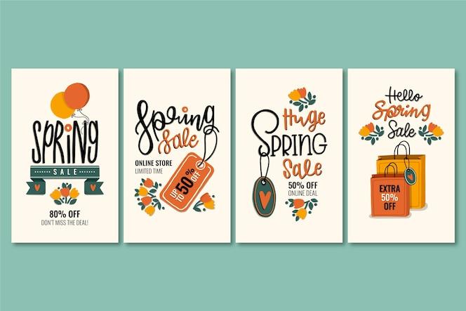 Colección de coloridas historias de rebajas de primavera