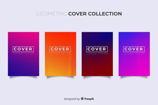 Colección de coloridas portadas geométricas