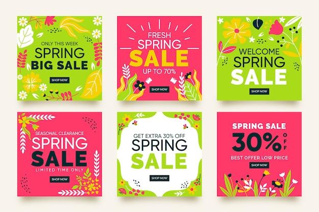 Colección de coloridas publicaciones de instagram de rebajas de primavera