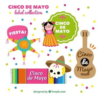 Colección de coloridas y simpáticas pegatinas de cinco de mayo