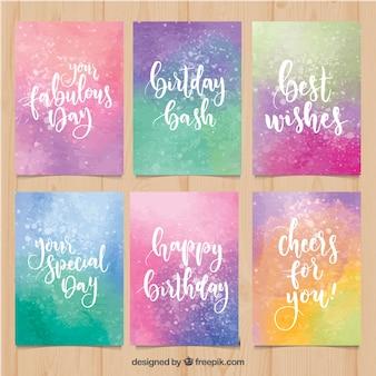 Colección de coloridas tarjetas de cumpleaños en acuarela