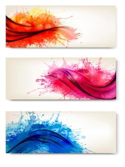 Colección de coloridos carteles acuarelas abstractas