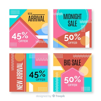 Colección de coloridos carteles de ventas