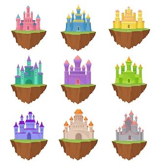 Colección coloridos castillos de la isla sobre fondo blanco.