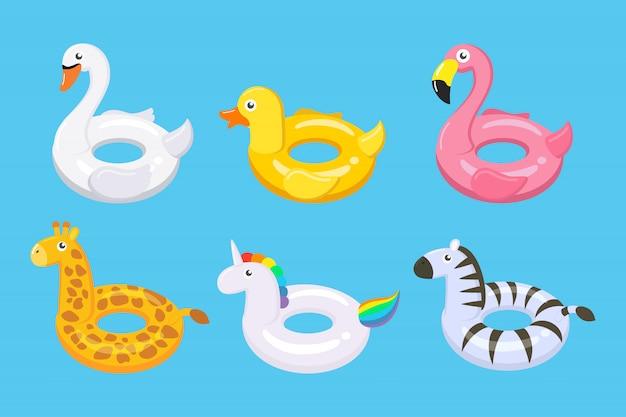 Colección de coloridos flotadores lindos niños juguetes conjunto