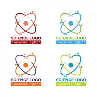 Colección de coloridos logos de ciencia