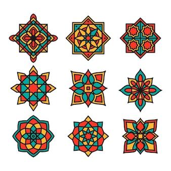 Colección de coloridos ornamentales arabescos