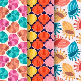 Colección de coloridos patrones de conchas sin costura