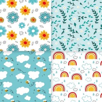 Colección de coloridos patrones de primavera