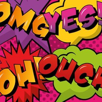 Colección cómic pop art discurso burbuja y frases de colores