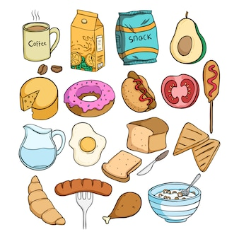 Colección de comida de almuerzo con estilo doodle de color