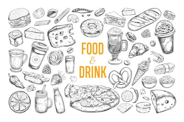 Colección de comida y bebida aislado en blanco