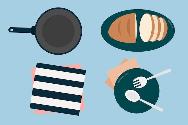 Colección de comida en colores pastel