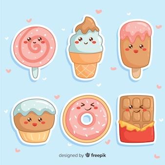 Colección comida dulce adorable dibujada a mano