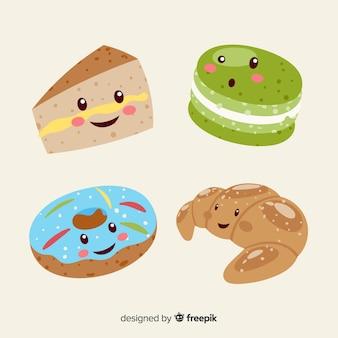 Colección comida dulce kawaii sonriente dibujado a mano