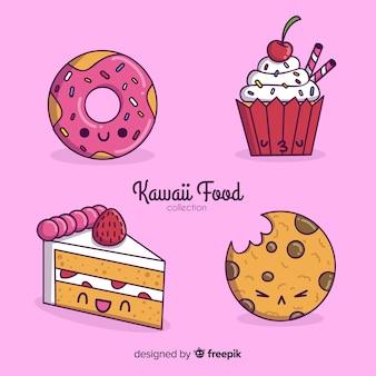 Colección de comida estilo kawaii dibujada a mano