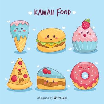 Colección de comida en estilo kawaii dibujado a mano