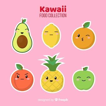 Colección de comida estilo kawaii en diseño plano