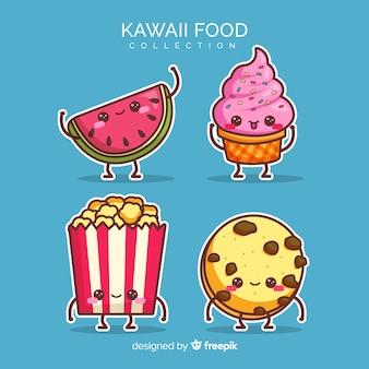 Colección de comida en estilo kawaii en diseño plano
