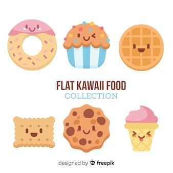 Colección de comida en estilo kawaii