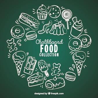 Colección de comida en estilo pizarra
