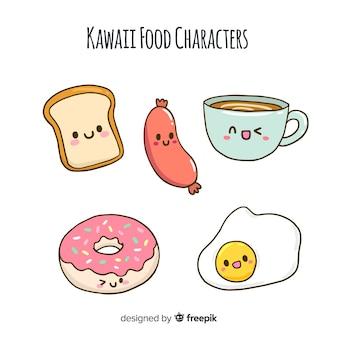 Colección comida kawaii dibujada a mano