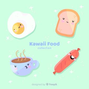 Colección de comida kawaii dibujada a mano