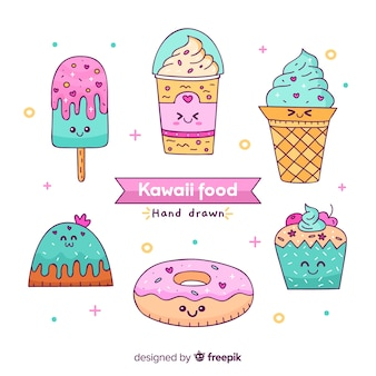 Colección comida kawaii dulce dibujada a mano