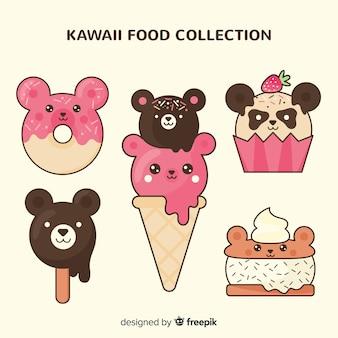 Colección comida kawaii plana