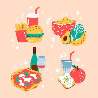Colección comida linda dibujada a mano
