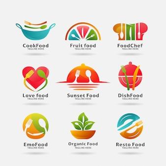 Colección de comida y logotipo del restaurante.