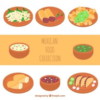 Colección de comida mejicana sabrosa