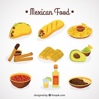 Colección de comida mejicana