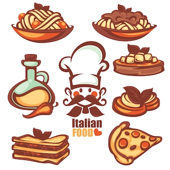 Colección de comida de menú italiano