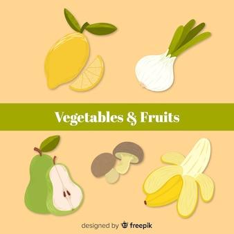 Colección de comida orgánica dibujado a mano