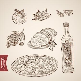 Colección de comida de pizzería italiana dibujada a mano vintage de grabado.