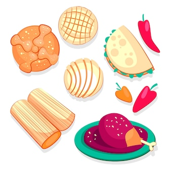 Colección comida plana dia de muertos dibujada a mano