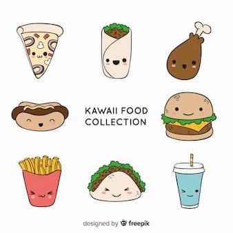Colección comida rápida adorable dibujada a mano