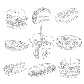 Colección de comida rápida doodle