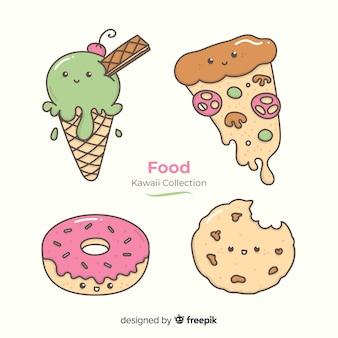 Colección comida rápida kawaii dibujada a mano
