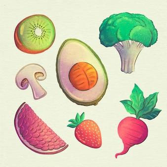 Colección de comida vegetariana en acuarela