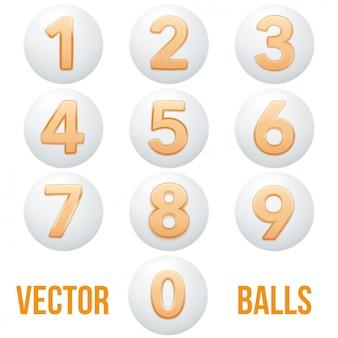 Colección completa de bolas de iconos con números.