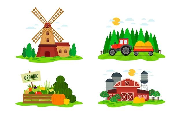 Colección de concepto de agricultura ecológica