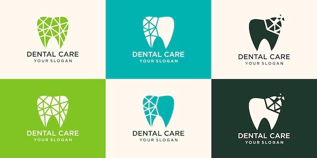 Colección de concepto de diseños de logotipos de tecnología dental, plantilla de diseños de logotipos dentales