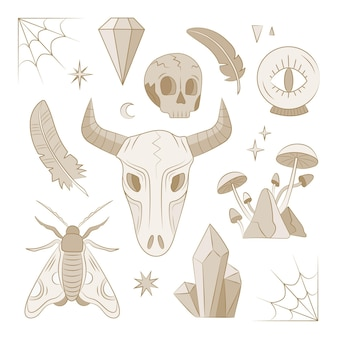 Colección de concepto de elemento esotérico